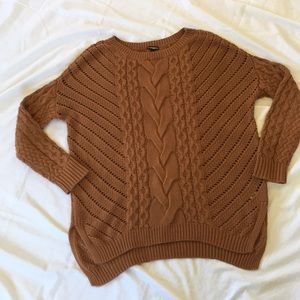 Cable Knit Cotton Blend Cable Knit Sweater